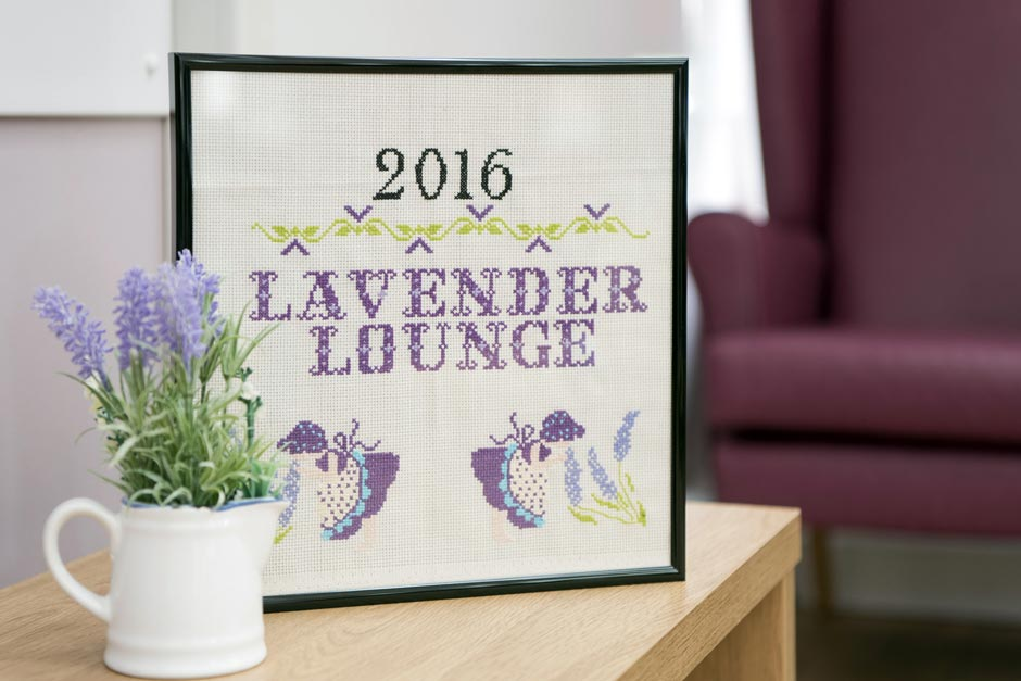 Lavender lounge at Broadland View Care Home in Norwich