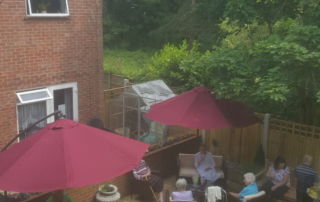 View of our patio from an upstairs window